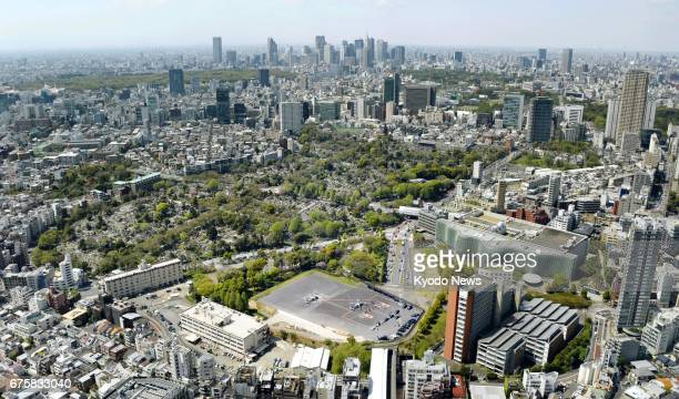 Photo taken on April 19 shows Akasaka Press Center a US Army facility in the Roppongi district of central Tokyo The facility occupies about 27000...