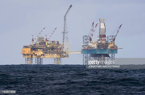 A photo taken on April 2 2012 shows French energy giant Total's Elgin rig 150 miles from Aberdeen in eastern Scotland in the North Sea Total plans to...