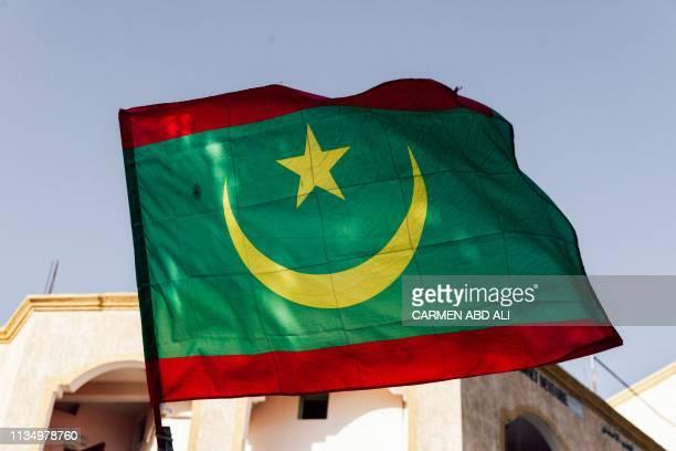 A photo taken on April 2 2019 in Nouakchott shows a Mauritanian national flag