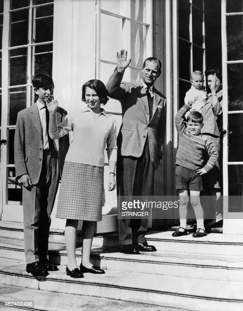Photo taken on April 21 1965 at Frogmore House in Windsor Berkshire shows The British Royal Family Charles Prince of Wales Princess Anne Prince...