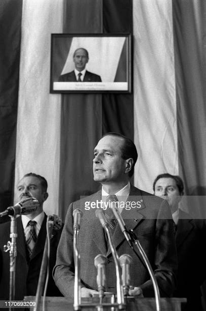 Photo taken on April 25 1975 French Prime Minister Jacques Chirac delivers a speech at the Dunkirk City Hall northern France