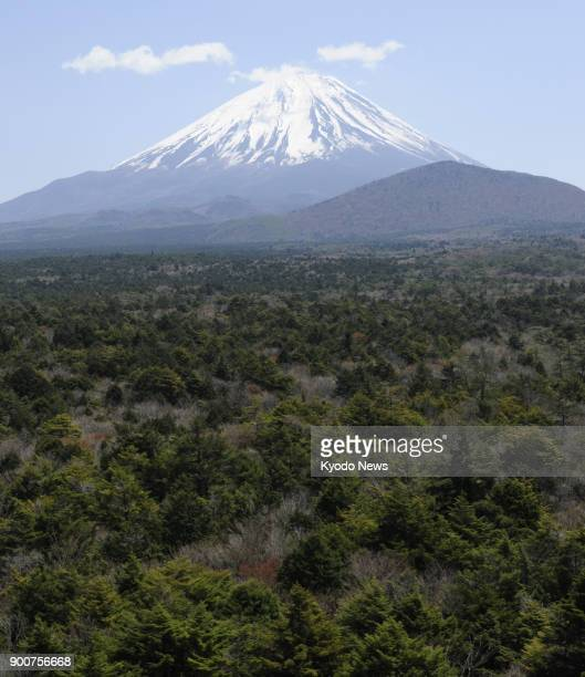 Photo taken on April 27 2013 from a Kyodo News helicopter shows Mt Fuji Japan's highest mountain southwest of Tokyo and the Aokigahara forest known...