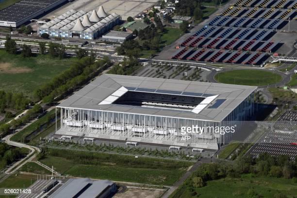 A photo taken on April 27 2016 shows an aerial view of the Nouveau Stade de Bordeaux in the city of Bordeaux southwestern France / AFP / EUROLUFTBILD...