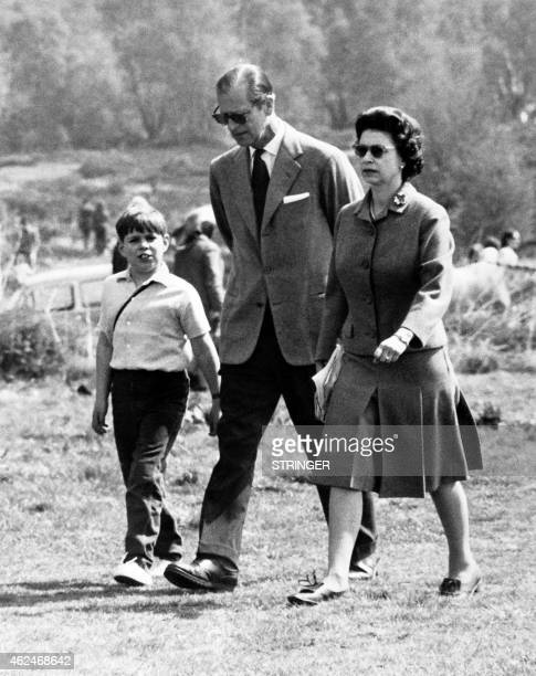 Photo taken on April 28 1968 shows Britain's Queen Elizabeth II Prince Philip Duke of Edinburgh and Prince Andrew Duke of York during 'the Windsor...