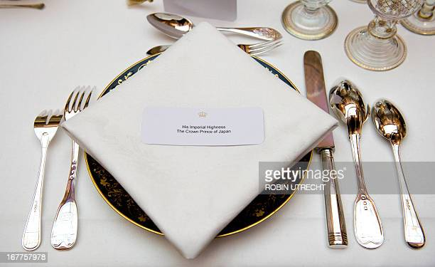 A photo taken on April 29 2013 shows the seat of Japan's Crown Prince Nahurito ahead of a dinner hosted by Queen Beatrix of the Netherlands at the...