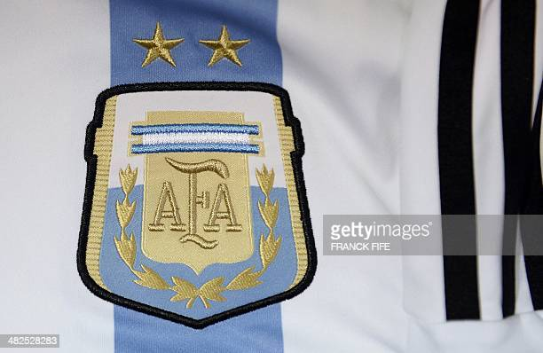 A photo taken on April 3 2014 in Paris shows a partial view of the new jersey of Argentina's national football team AFP PHOTO / FRANCK FIFE