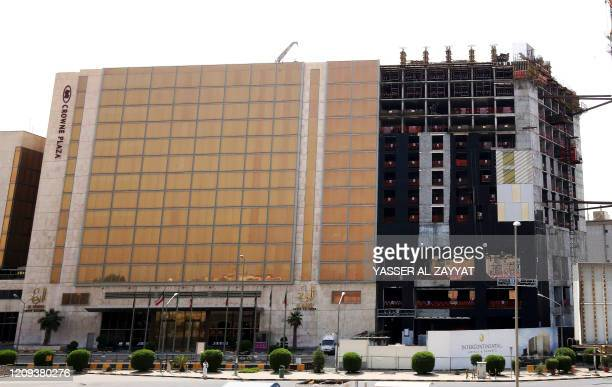 A photo taken on April 6 2020 shows the five star Crowne Plaza hotel in Kuwait City Authorities in the oilrich country have forced citizens returning...