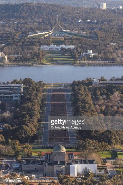 Photo taken on Aug. 13, 2021 shows an empty street near the Australian War Memorial in Canberra, Australia. The Australian Capital Territory ACT has...