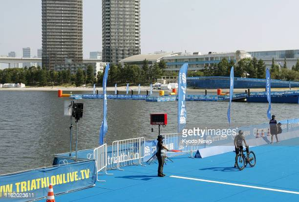 Photo taken on Aug 17 shows Odaiba Marine Park in Tokyo the venue for the 2020 Tokyo Olympic and Paralympic triathlon The swimming leg of the...