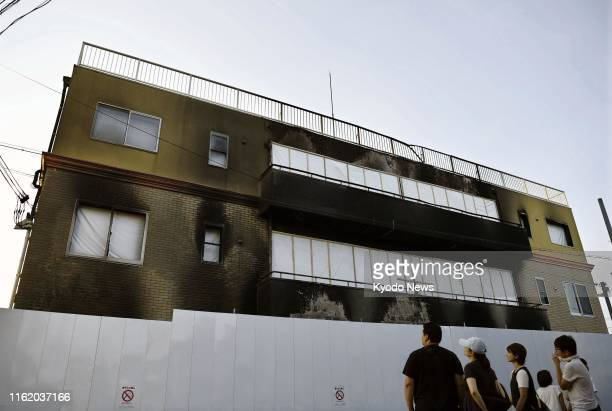 Photo taken on Aug. 17 shows the burnt-out, three-story studio of Kyoto Animation Co. In western Japan, about one month after an arson attack left 35...