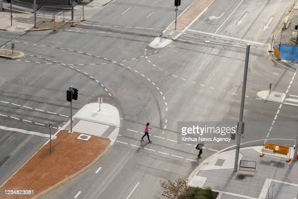 Photo taken on Aug. 21, 2021 shows a street in city center during the lockdown in Canberra, Australia. Australia reported a new record number of 894...