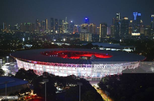 Photo taken on Aug 5 2018 in Jakarta shows Gelora Bung Karno Stadium the main venue for the Asian Games 2018 The event will be held from Aug 18...