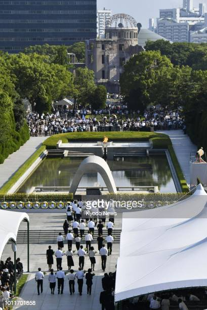 Photo taken on Aug 6 2018 shows a scene from a ceremony marking the 73rd anniversary of the US atomic bombing of Hiroshima at the Peace Memorial Park...