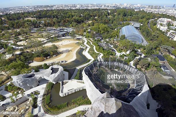 A photo taken on August 10 2015 shows an aerial view of the Paris Zoological Park formerly known as the Bois de Vincennes Zoological Park in Paris...