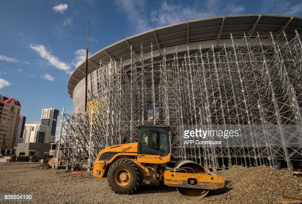 A photo taken on August 19 2017 shows the renovation of the Yekaterinburg Arena in Yekaterinburg Yekaterinburg Arena will host several matches during...