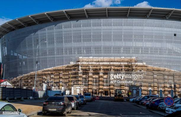 A photo taken on August 19 2017 shows the renovation to the Yekaterinburg Arena in Yekaterinburg Yekaterinburg Arena will host several matches during...