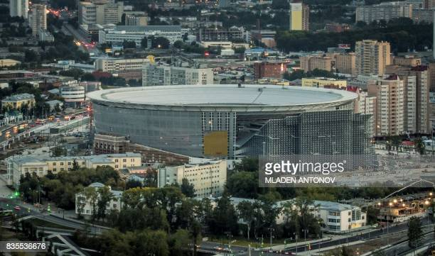 A photo taken on August 19 2017 shows the renovation work to the Yekaterinburg Arena in Yekaterinburg Yekaterinburg Arena will host several matches...