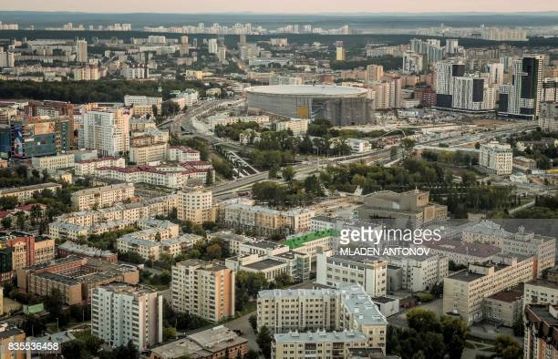 A photo taken on August 19 2017 shows the Yekaterinburg Arena in Yekaterinburg Yekaterinburg Arena will host several matches during the FIFA World...