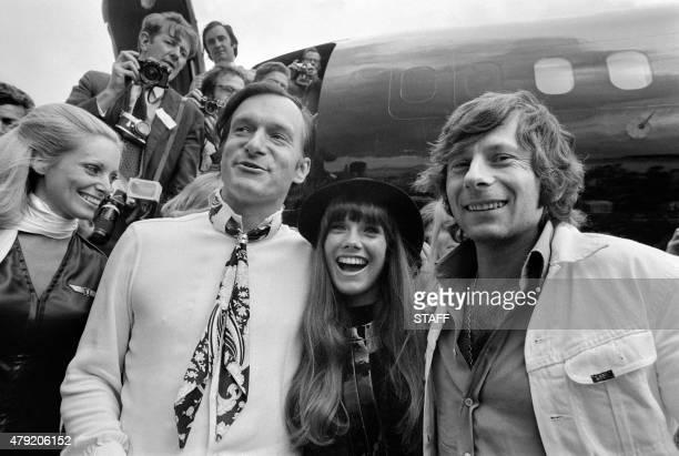 Photo taken on August 21 1970 shows US Playboy Magazine publisher Hugh Hefner his girlfriend actress Barbara Benton and film director Roman Polanski...