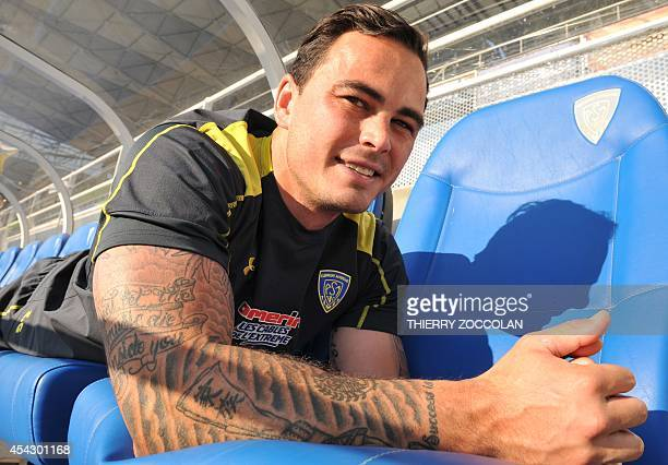 A photo taken on August 21 2014 shows Clermont's New Zealander winger Zac Guildford during a training at the Marcel Michelin stadium in...