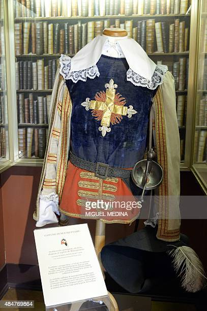 A photo taken on August 21 2015 shows a musketeer theatre costume on display at the Chateau de MonteCristo in Le PortMarly centralnorthern France The...
