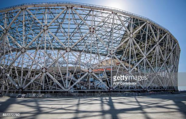 A photo taken on August 22 2017 shows the Volgograd Arena in Volgograd Volgograd Arena will host several games of the FIFA World Cup 2018 / AFP PHOTO...