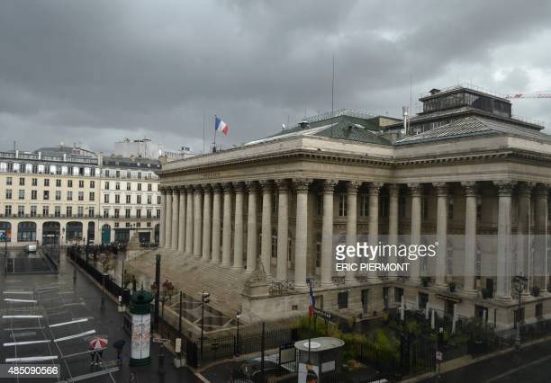 Photo taken on August 24 2015 shows the former Paris stock market exchange Bourse de Paris or Palais Brongniart in Paris Major European and Asian...