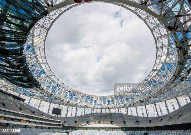 A photo taken on August 26 2017 shows the interior of the Nizhny Novgorod Stadium Nizhny Novgorod Stadium will host several games of the FIFA World...