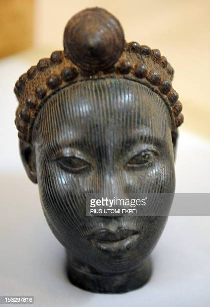 A photo taken on August 27 2012 shows a bronze sculpture of an Ife crowned head at the National Commission for Museums and Monuments in Lagos AFP...