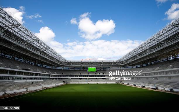 A photo taken on August 28 2017 shows a view of the inside of the Kaliningrad Stadium in Kaliningrad Kaliningrad Stadium will host several games of...