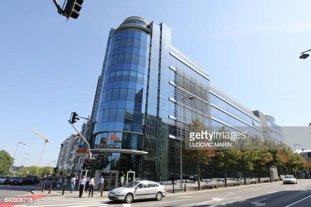 A photo taken on August 29 2017 shows the world headquarters of the multinational steel manufacturing corporation ArcelorMittal in a street of the...