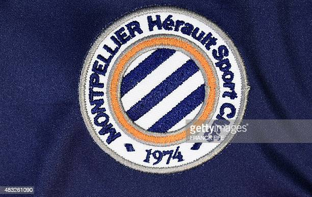 A photo taken on August 6 2015 in Paris shows a partial view of the new jersey of the Montpellier football team AFP PHOTO / FRANCK FIFE / AFP /...