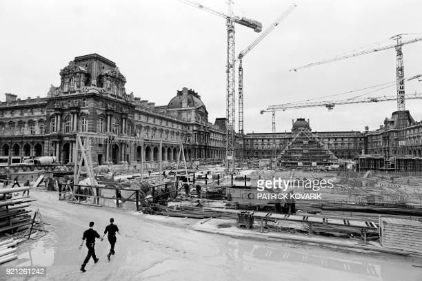 Photo taken on August 7 1987 shows the Louvre Pyramid under construction designed by ChineseAmerican architect IM Pei in the main courtyard of the...