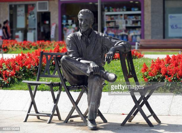 A photo taken on August 7 2014 in Irun in the Basque country in northern Spain shows a statue representing Spanish Basque operetta singer and actor...