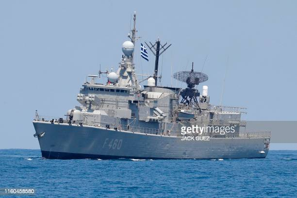 A photo taken on August 7 shows the Greek HS Aigaion frigate during an exercise how simulate a humanitarian response to a powerful earthquake and...