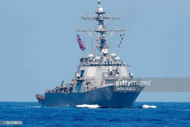 Photo taken on August 7 shows the US Navy USS Donald Cook class guided missile destroyer during an exercise how simulate a humanitarian response to a...