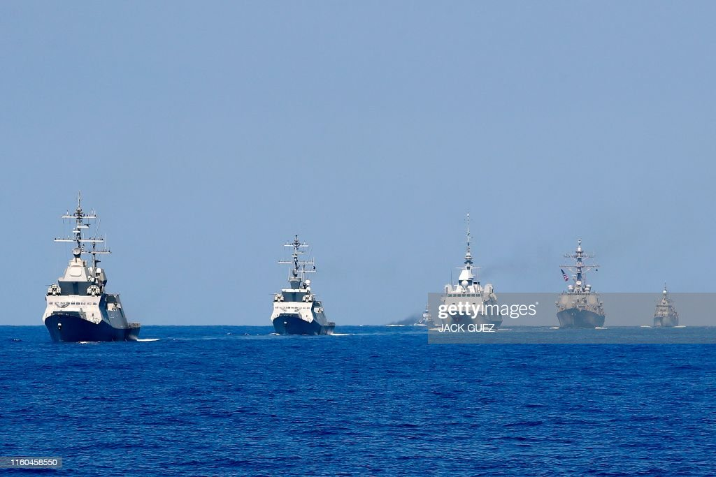 A photo taken on August 7 shows two Israeli Sa'ar 5 class