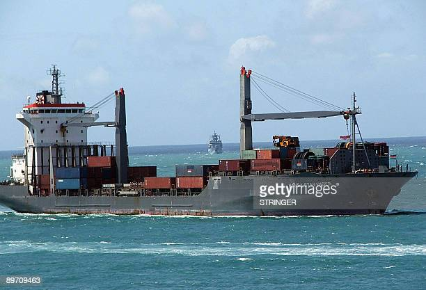 Photo taken on August 8 2009 shows the German container ship 'Hansa Stavanger' making its way into the Kenyan port of Mombasa Somali pirates released...