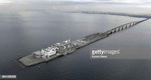 Photo taken on Dec 15 from a Kyodo News helicopter shows the Umihotaru parking area on the Tokyo Bay Aqualine undersea expressway which links Chiba...