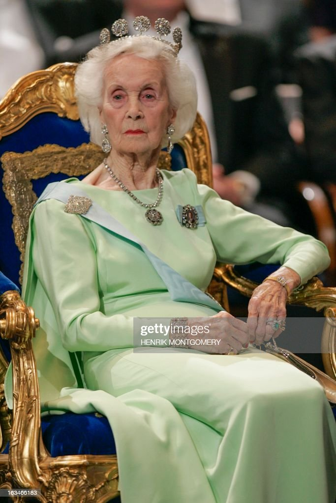 A photo taken on December 10, 2005 shows Princess Lilian of Sweden. Swedish Princess Lilian, who waited over three decades to marry her lifelong love Prince Bertil, passed away at her Stockholm home on March 10, 2013 at the age of 97, the royal palace said in a statement. OUT