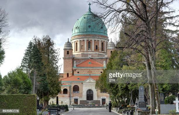 A photo taken on December 14 2017 shows the grave of late Croatian President Franjo Tudjman in front of the Church of Christ the King in Zagreb's...