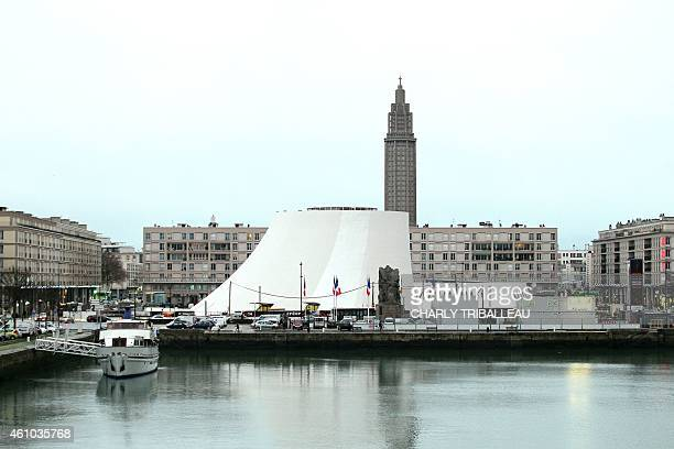 A photo taken on December 15 2014 shows the cultural center Le Volcan in the French western port city of Le Havre designed in 1982 by Brazilian...