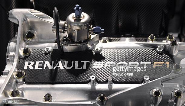 A photo taken on December 18 2014 in ViryChatillon south of Paris shows the a Renault Sport F1 engine The general director of Renault Sport F1 Cyril...