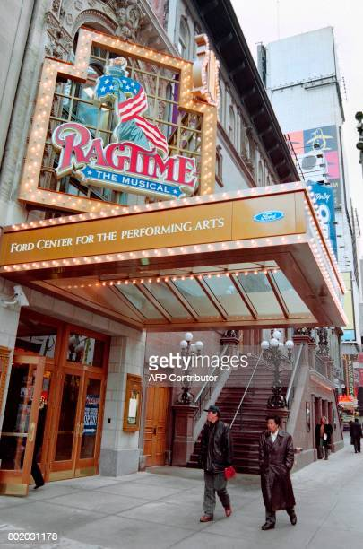 Photo taken on December 26 1997 in New York City shows the Ford Center for the Performing Arts just off Times Square presenting the musical...