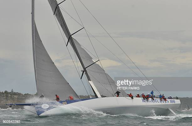 Photo taken on December 26 2015 shows Supermaxi yacht Ragamuffin 100 after the start of the Sydney to Hobart yacht race in Sydney Eighttime line...