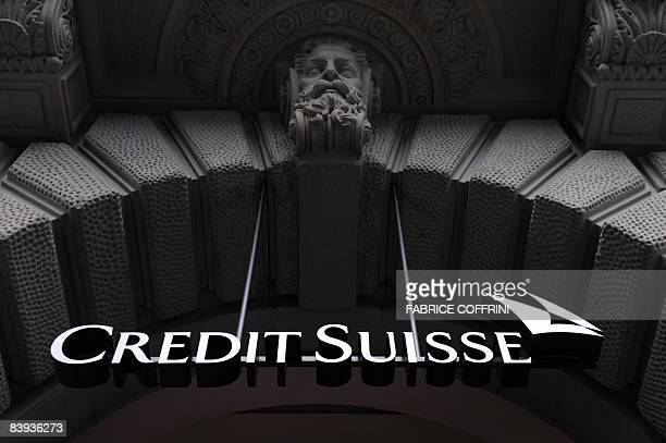 Photo taken on December 6 2008 shows the logo of the Credit Suisse at one of the Swiss bank branch in Zurich The Swiss government on December 5 2008...