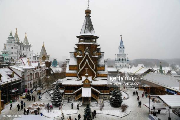 A photo taken on December 9 2018 shows Christmas decoration at the ethnographic and amusement center 'Kremlin in Izmailovo' in Moscow