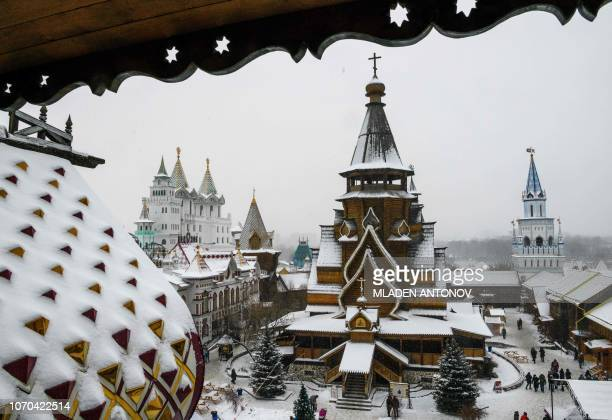 A photo taken on December 9 2018 shows the Christmas decoration at the ethnographic and amusement center 'Kremlin in Izmailovo' in Moscow