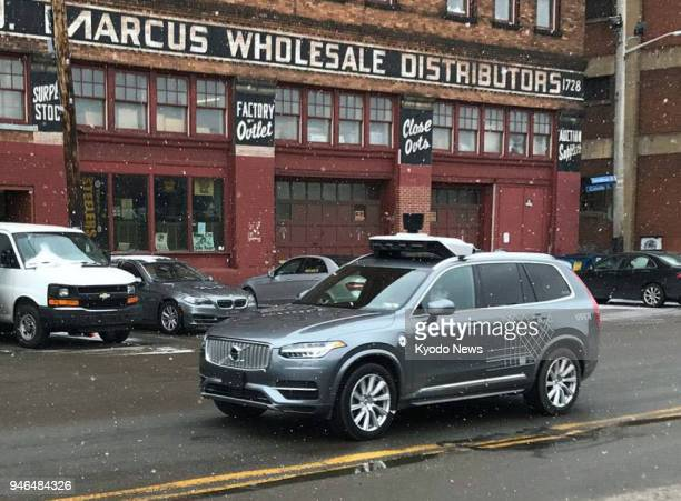 Photo taken on Feb 16 in Pittsburgh Pennsylvania shows a selfdriving vehicle used for test drives conducted by Uber Technologies Inc ==Kyodo