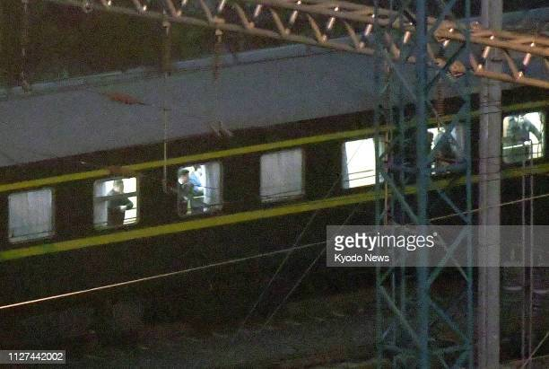 Photo taken on Feb 26 in Nanning southern China shows a train believed to be carrying North Korean leader Kim Jong Un Kim and US President Donald...